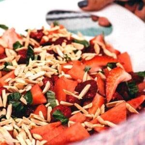 Watermelon, Berry, and Basil Salad { @beardandbonnet www.beardandbonnet.com }