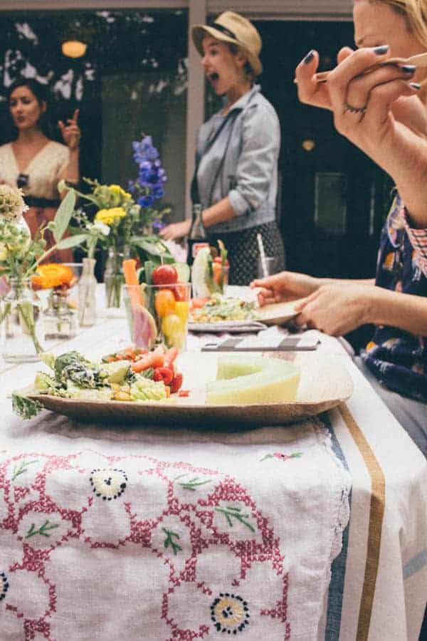 Lemon Hummus with Pesto and Crudités  { @beardandbonnet www.beardandbonnet.com }