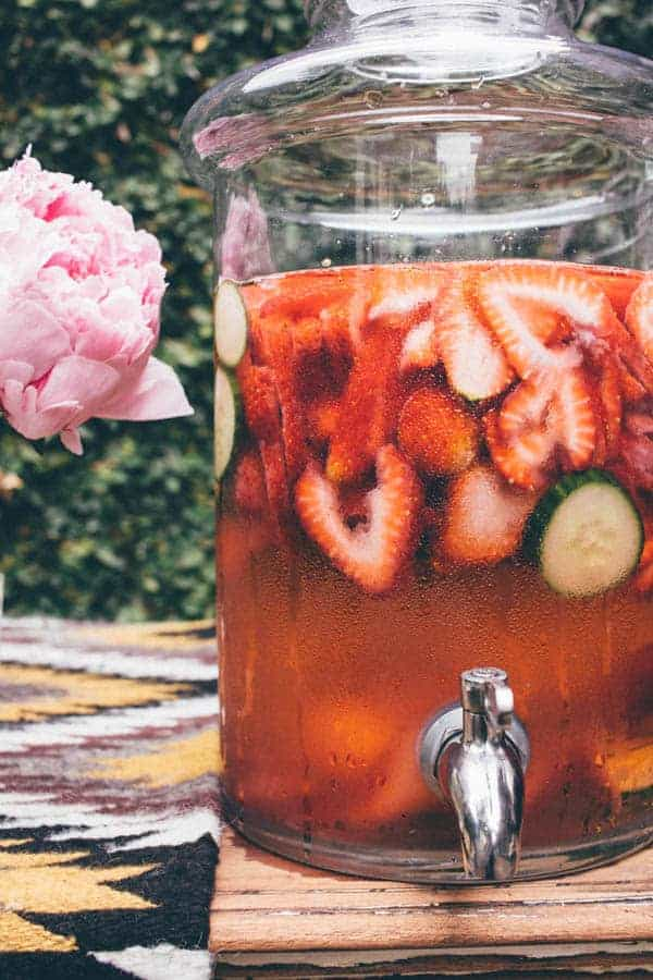 Strawberry Cucumber Spa Water { @beardandbonnet www.thismessisours.com }