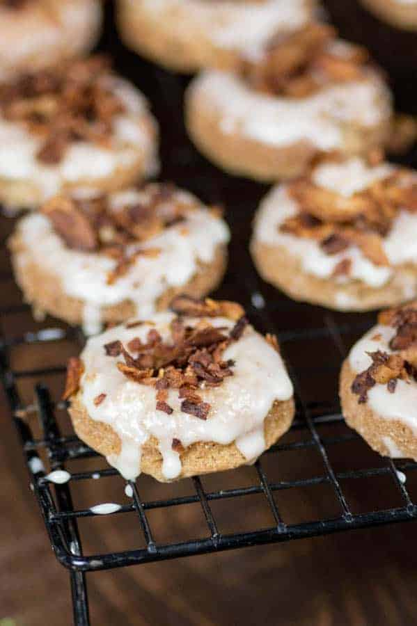 Maple Donuts with Coconut Bacon Sprinkles { @beardandbonnet www.thismessisours.com }