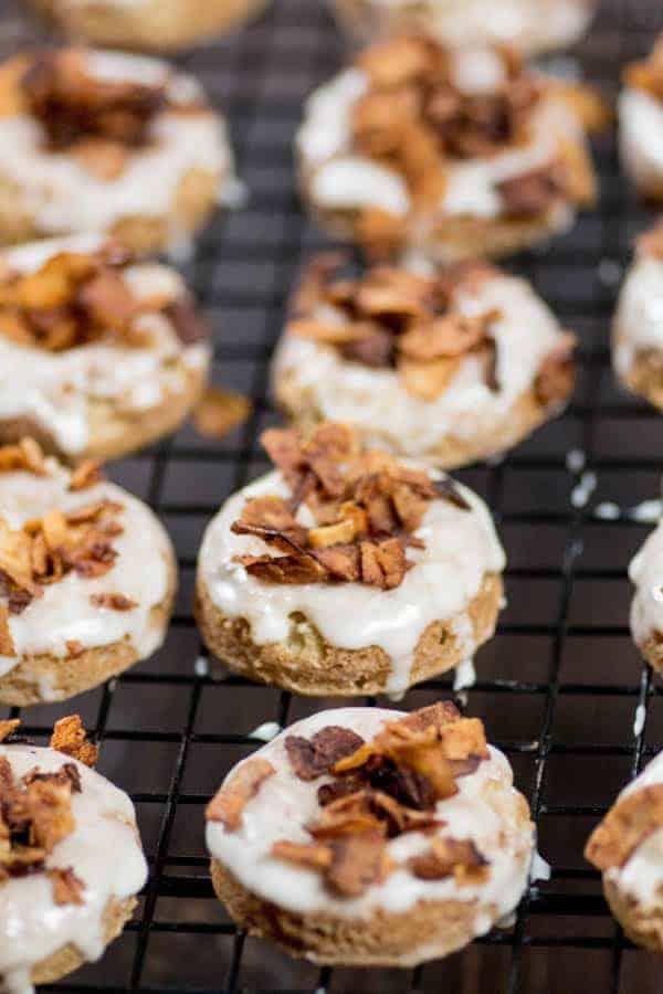 Maple Donuts with Coconut Bacon Sprinkles { @beardandbonnet www.beardandbonnet.com }
