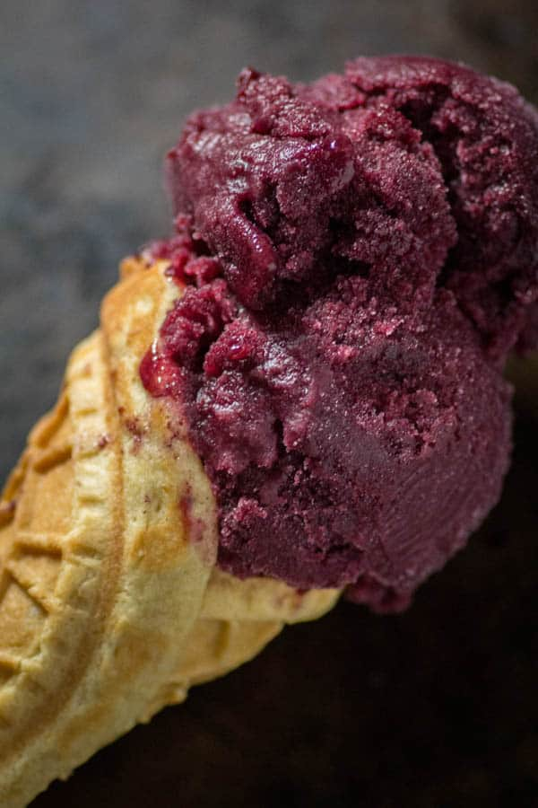 Paleo Waffle Cones with Mixed Berry Sorbet from Paleo Patisserie by Jenni Hulet on @beardandbonnet www.beardandbonnet.com