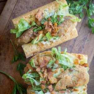 Gluten Free Fried Green Tomato Po' Boys recipe from @beardandbonnet www.beardandbonnet.com