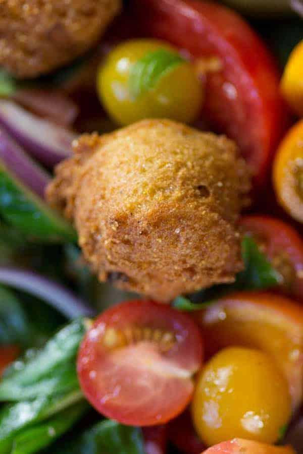 Hushpuppy Panzanella recipe from @beardandbonnet. www.beardandbonnet.com