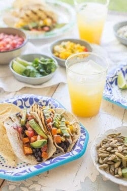 Roasted Sweet Potato and Black Bean Tacos recipe by @beardandbonnet. #bemorehere with @dixieproducts { www.beardandbonnet.com }