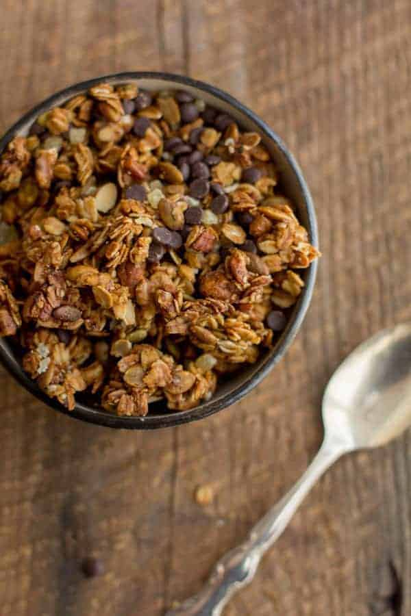 Pumpkin Bread Granola recipe on @beardandbonnet www.thismessisours.com