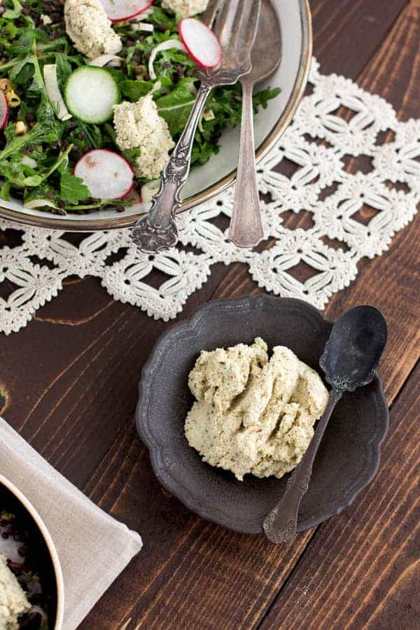 French Lentil and Arugula Salad with Herbed Cashew Cheese recipe from Food 52 Vegan by Gena Hamshaw on @beardandbonnet www.beardandbonnet.com