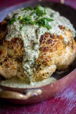Herb-Orange Whole Roasted Cauliflower recipe by @beardandbonnet on www.thismessisours.com