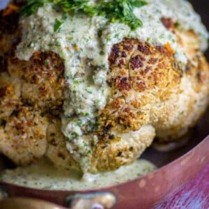 Herb-Orange Whole Roasted Cauliflower recipe by @beardandbonnet on www.beardandbonnet.com