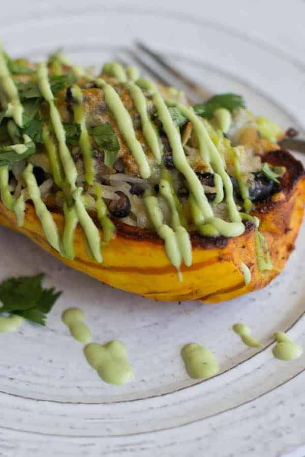 A delicata Squash Burrito Bowl with a drizzle of green avocado sauce