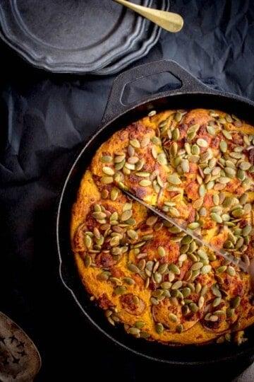 Loaded Pumpkin Cornbread recipe by @beardandbonnet on www.thismessisours.com