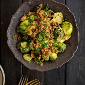 Roasted Brussels Sprouts with Lemon & Herb Breadcrumbs recipe by @beardandbonnet on Massel.com