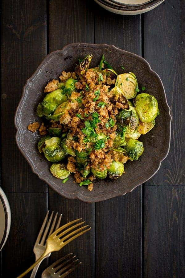 Roasted Brussels Sprouts with Lemon & Herb Breadcrumbs recipe by @beardandbonnet on Massel.com