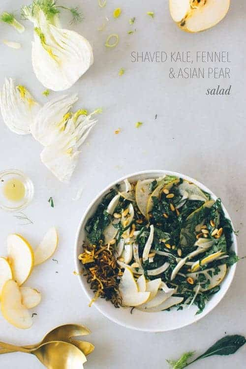 Shaved Kale, Fennel & Asian Pear Salad recipe by Kale & Caramel