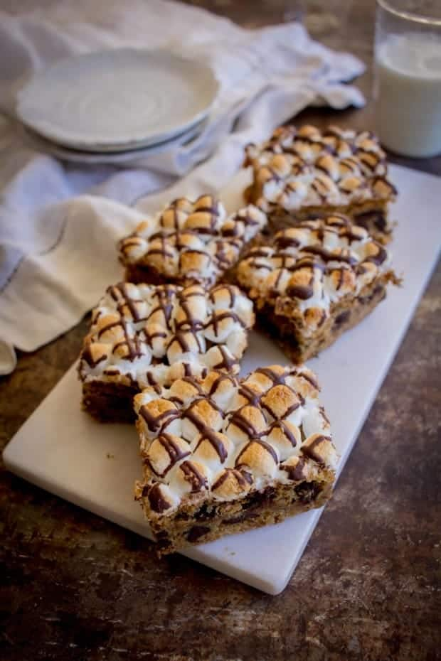 Chocolate Chip S'mores Cookie Bars recipe by @beardandbonnet on www.thismessisours.com