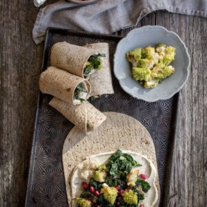 Roasted Romanesco Wraps with Hummus & Pomegranate recipe by @beardandbonnet on www.beardandbonnet.com