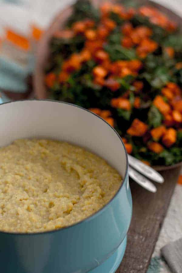 Oven Roasted Kale & Sweet Potato with Creamy Polenta recipe with @Massel by @beardandbonnet