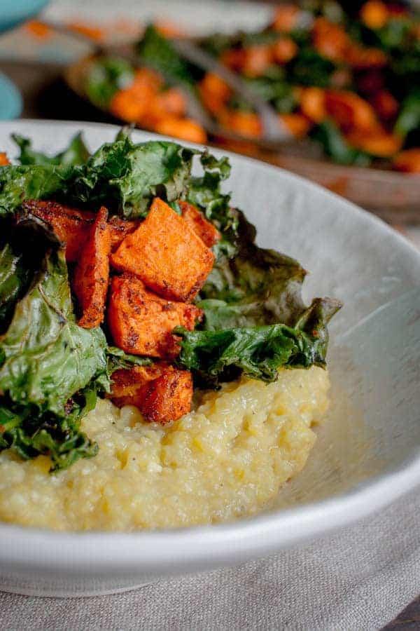Oven Roasted Kale & Sweet Potato with Creamy Polenta recipe with @Massel by @beardandbonnet
