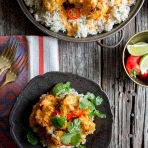 Piri-Piri Cauliflower with Toasted Coconut Rice recipe by @beardandbonnet on www.thismessisours.com