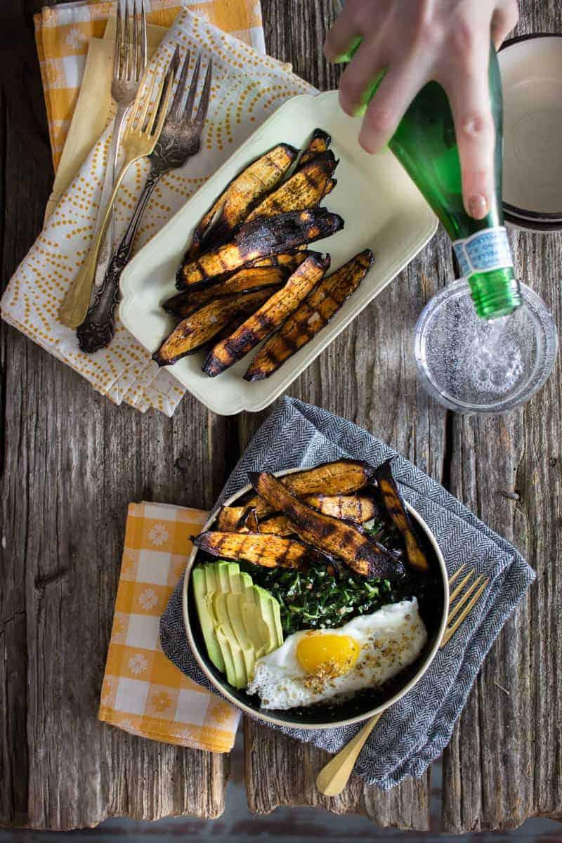 Crispy Eggplant Bacon Breakfast Bowl recipe by @beardandbonnet on www.beardandbonnet.com