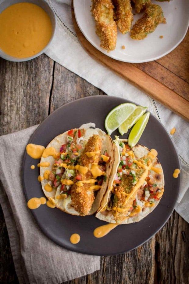 A plate of Crispy Avocado Tacos