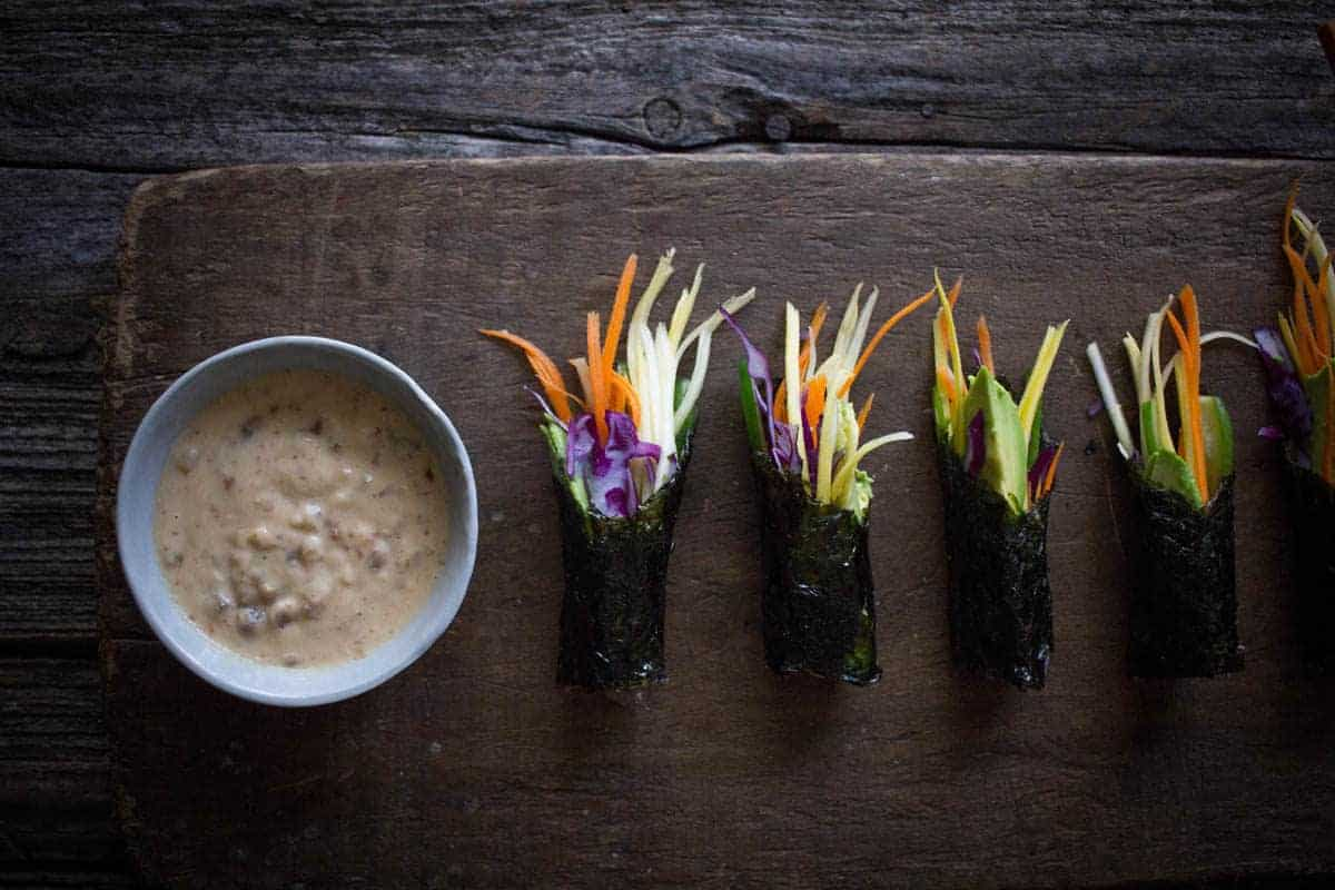 Sunrise Nori Wraps with Spicy Tahini Drizzle from Eating Clean by Amie Valpone on @beardandbonnet
