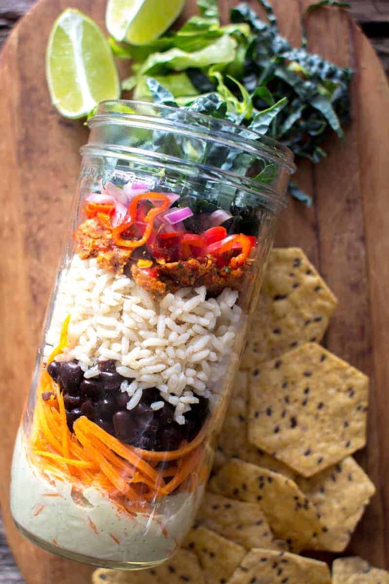Vegan Mason Jar Taco Salad recipe by @beardandbonnet on www.thismessisours.com