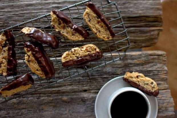 Chocolate-Dipped Almond and Cacao Nib Biscotti recipe by @pureella on www.thismessisours.com