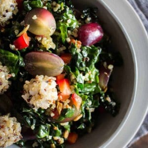 Kale & Quinoa Salad recipe by @beardandbonnet with @Massel on www.thismessisours.com