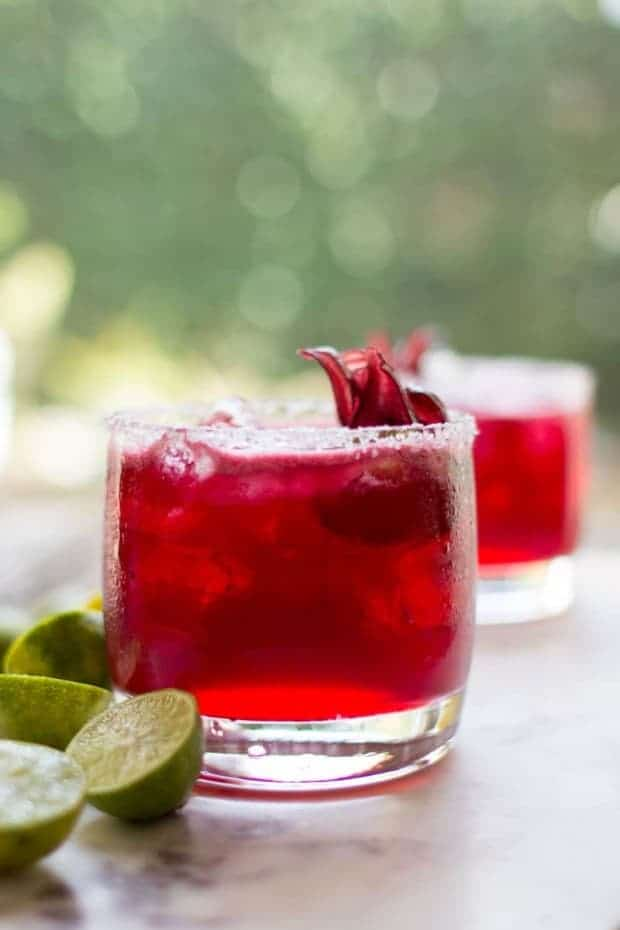 Two Hibiscus Key Lime Margaritas in front of a wall of greenery with dried hibiscus blossom garnishes