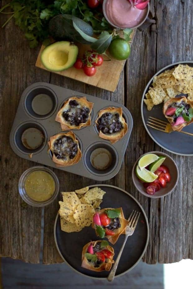 Crispy Black Bean Taco Cups recipe by @beardandbonnet on www.thismessisours.com