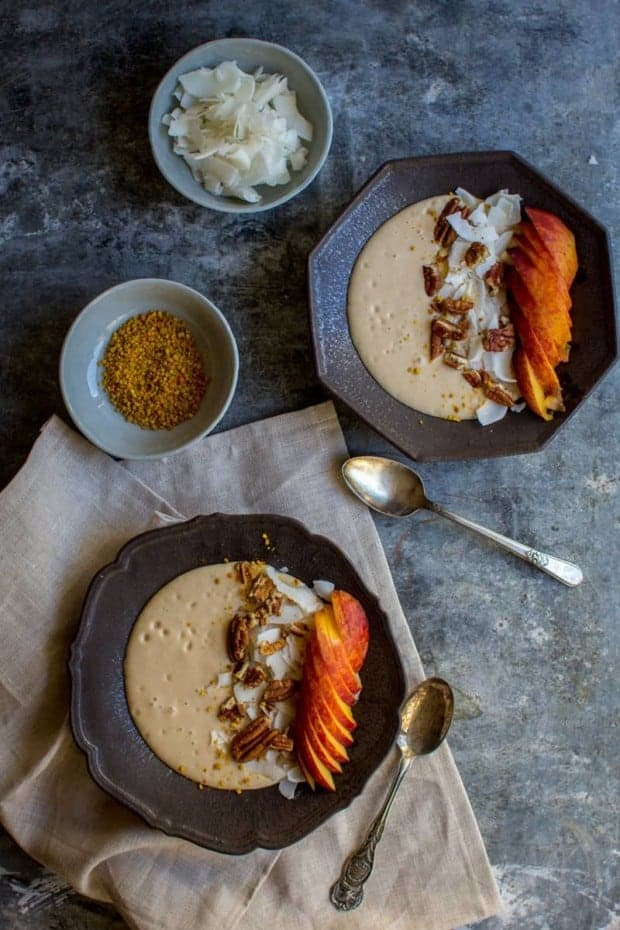 Vegan Peaches and Cream Smoothie Bowl recipe by @beardandbonnet with @LoveMySilk on www.thismessisours.com