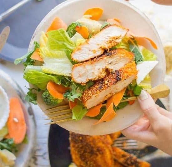 Crispy Parmesan Polenta Chicken recipe and 3 ways to use it by @beardandbonnet