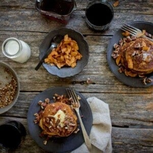 Gluten Free Pumpkin Butter Pancakes + Bacon and Pecan Sprinkles | @thismessisours