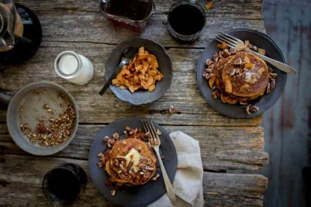 Gluten Free Pumpkin Butter Pancakes + Bacon and Pecan Sprinkles   @thismessisours