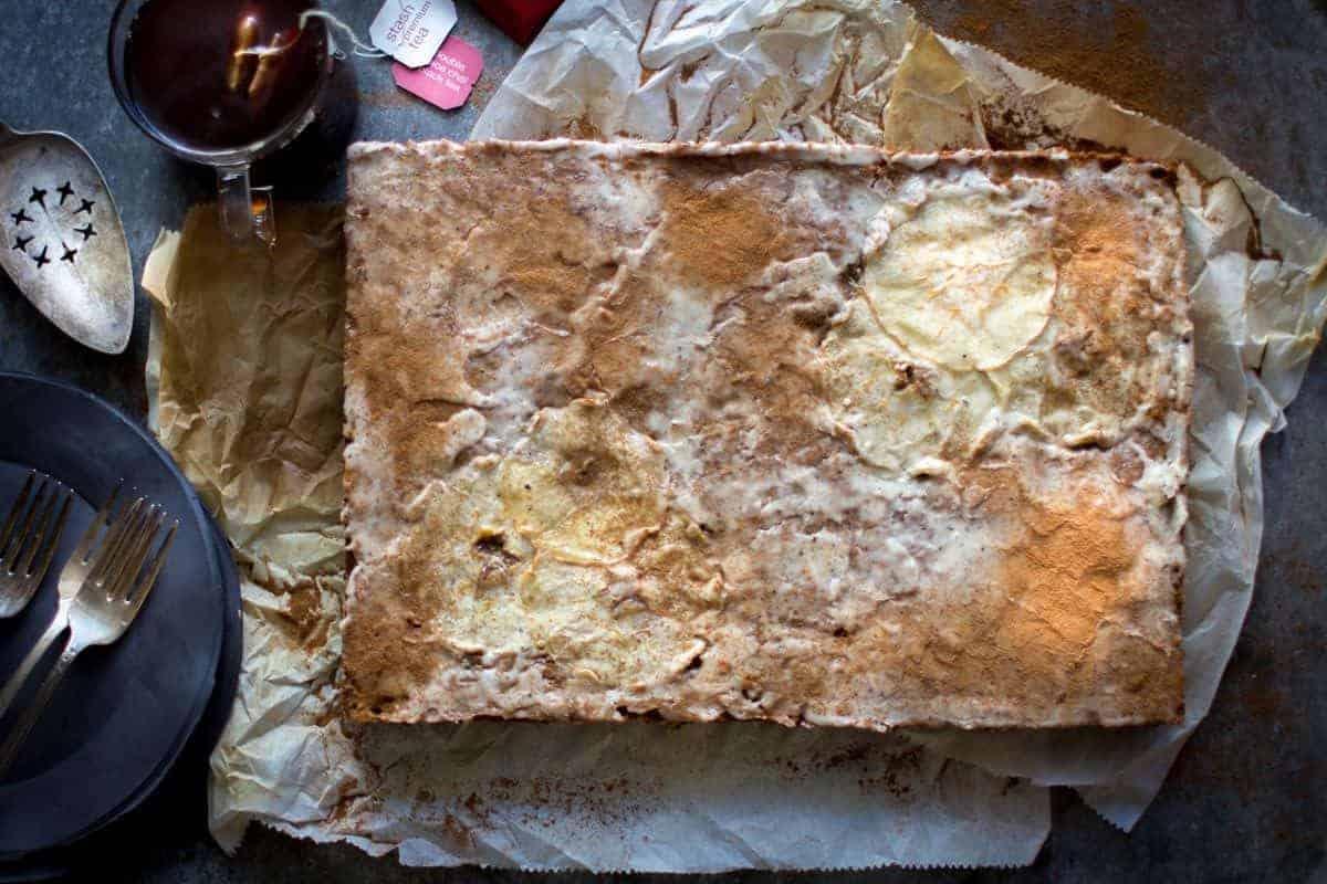 Double Chai Spiced Apple Sheet Cake
