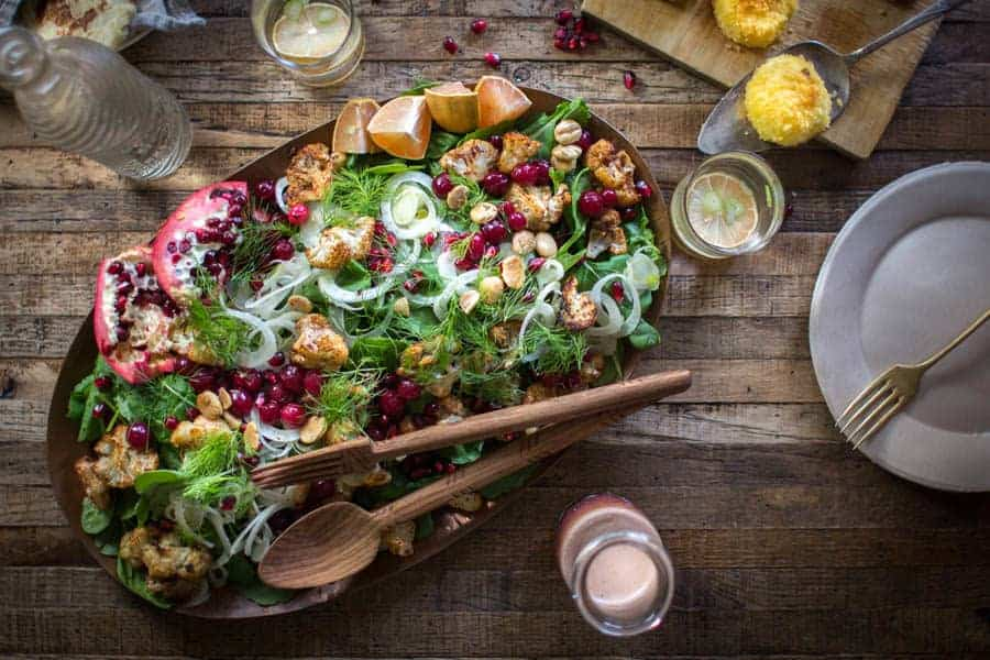 Cinnamon Roasted Cauliflower + Holiday Kale Salad recipe | @thismessisours