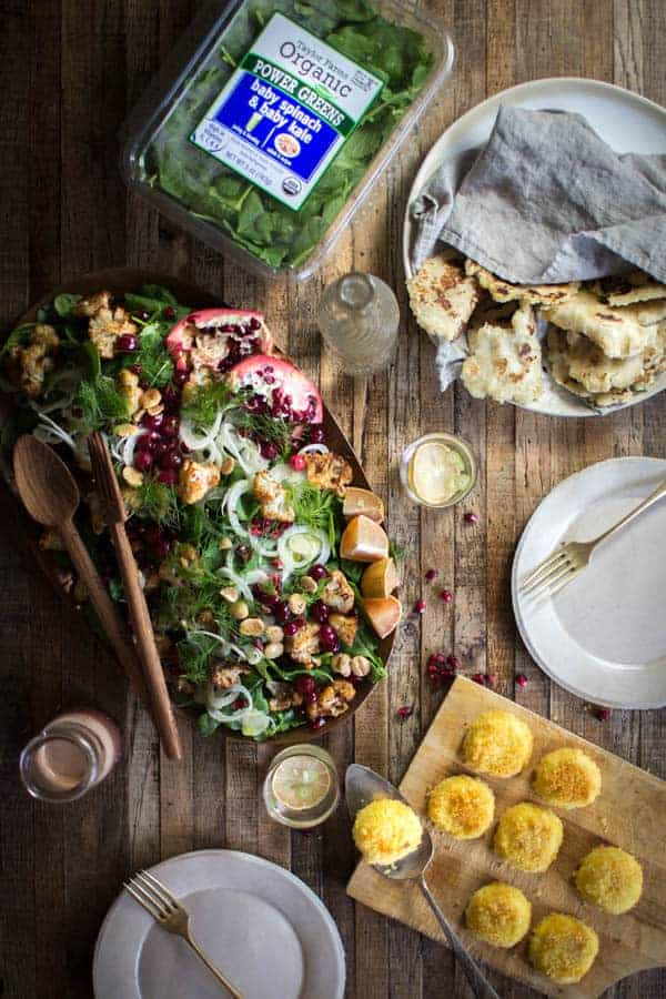 Easy Holiday Kale Salad + Cinnamon Roasted Cauliflower recipe | @thismessisours @taylorfarms #yourtaylorfarms #ATaylorFarmsHoliday