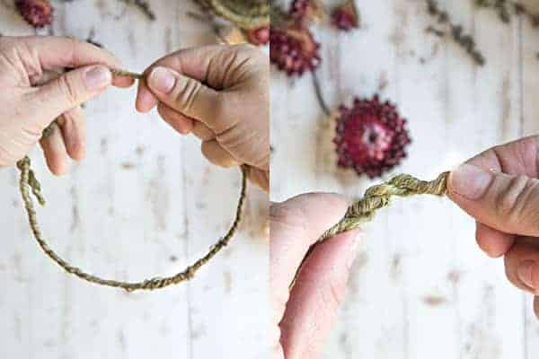 DIY Mini Floral and Herb Wreaths || Step 1 create the framework of the wreath. || @thismessisours
