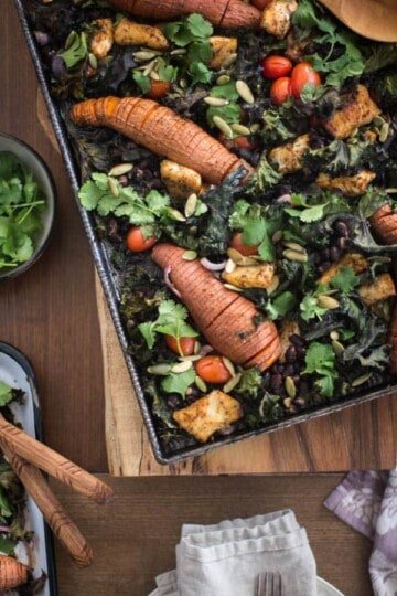 Chicken, Sweet Potato, and Black Bean Sheet Pan Tacos || We're sharing 2 versions of our favorite sheet pan supper on the site today - this meaty version with chicken and a vegan version loaded with veg! || @thismessisours @flatoutbread