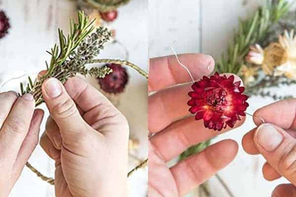 DIY Mini Floral and Herb Wreaths || Step 3. Add the bundles and florals to the wreath. || @thismessisours