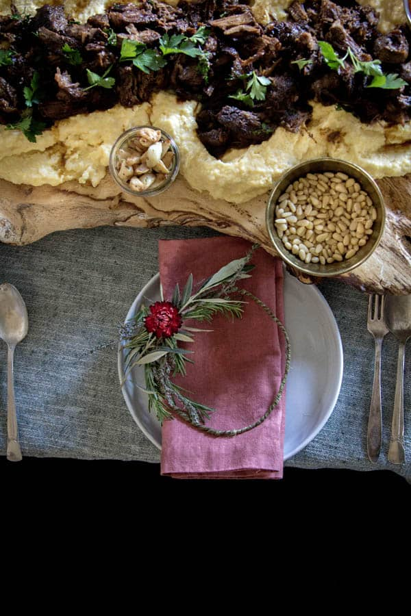How to Host an Italian Polenta Party    The decor at a party like this should really let the food shine. Forget serving bowls! Create a decadent platter with food safe wood boards like these we picked up from local LA maker @pasadenaville or cutting boards layered together.    @thismessisours @holajalpeno @saltandwind @melissasproduce