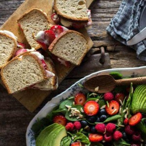 Strawberry-Pesto Melt sandwich recipe from Superfood Weeknight Meals by Kelly Pfeiffer on @thismessisours