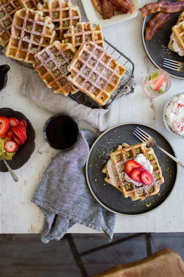 Decadent Strawberry and Pistachio Waffles recipe || Perfect for brunch or for meal prepping a week's worth of breakfasts || @thismessisours
