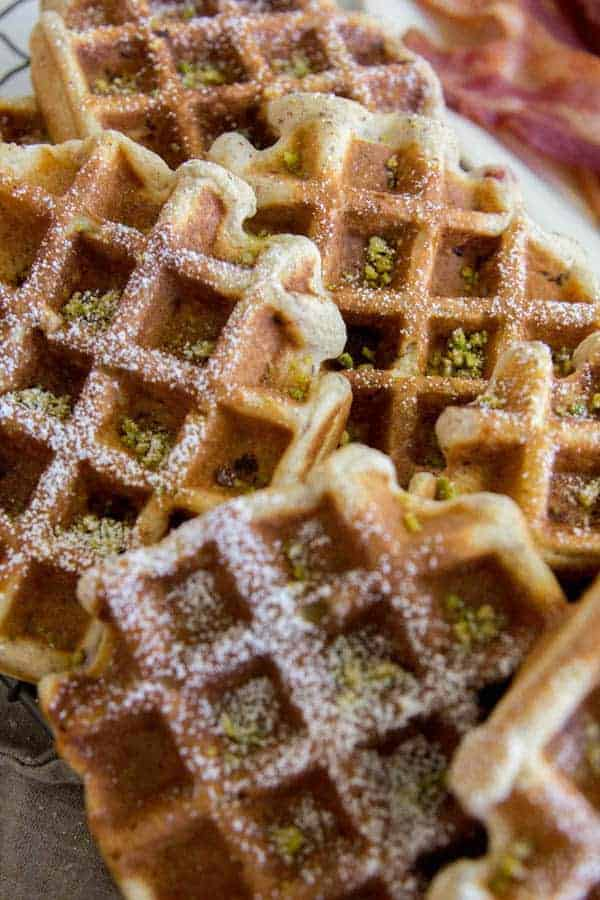 Strawberry and Pistachio Waffles recipe || Perfect for brunch or for meal prepping a week's worth of breakfasts || @thismessisours