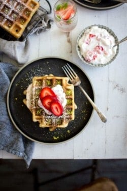 Strawberry and Pistachio Waffles recipe || @thismessisours