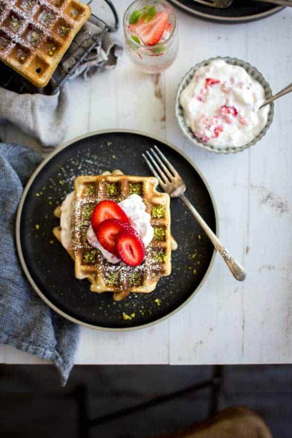 Strawberry and Pistachio Waffles recipe    @thismessisours