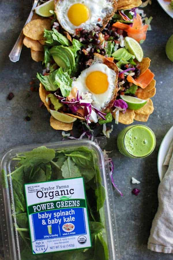 Huevos Rancheros Breakfast Salad and Power Greens Smoothie recipe || The perfect brunch for Easter or anytime! || @thismessisours @yourtaylorfarms