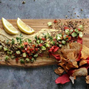 Deconstructed Tabbouleh Hummus Platter with root vegetable chips