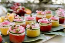Easy Watermelon Canapés recipe || These 2-bite treats may look like they would be difficult to make, but looks can be deceiving. These party ready bites are super easy to make and even easier to eat. || @thismessisours @nutsdotcom #spon #vegetarian #glutenfree